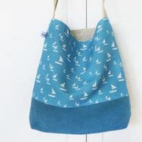 Cornish Blue Sailboat Day Bag | Shoulder Bag | Charlotte Macy